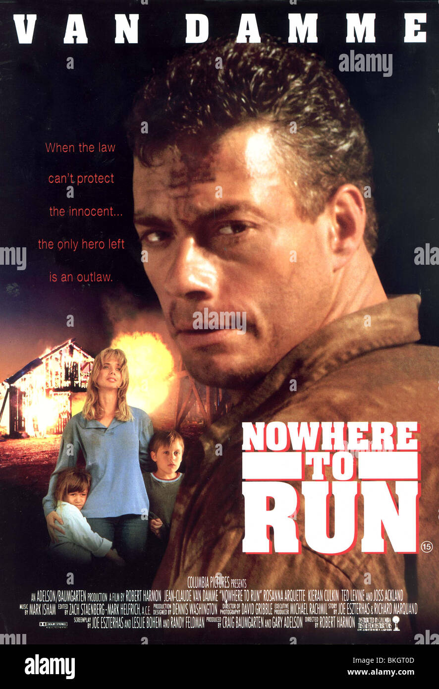 NOWHERE TO RUN -1993 POSTER - Stock Image