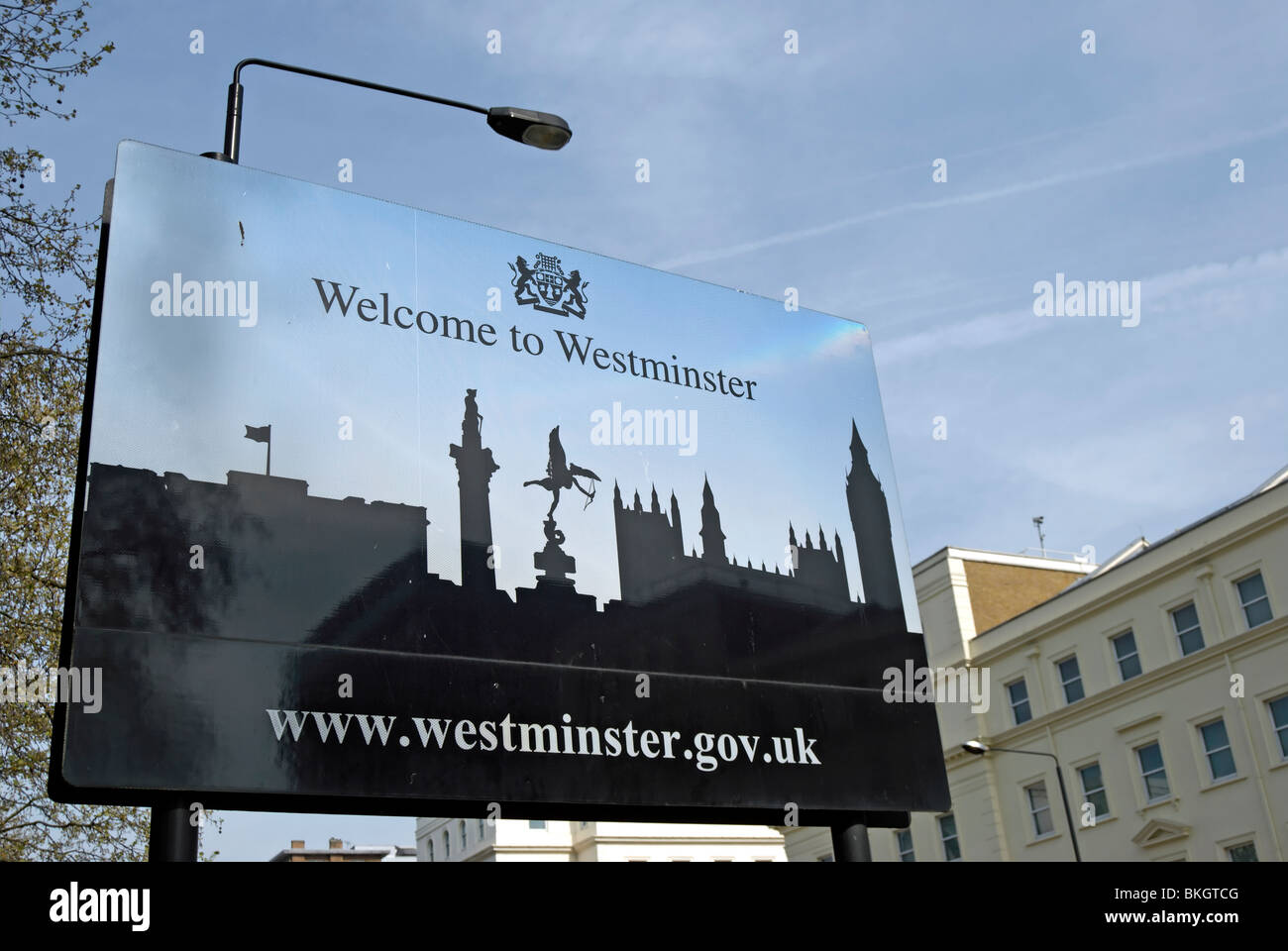 Welcome To Westminster Sign On Vauxhall Bridge Road London England
