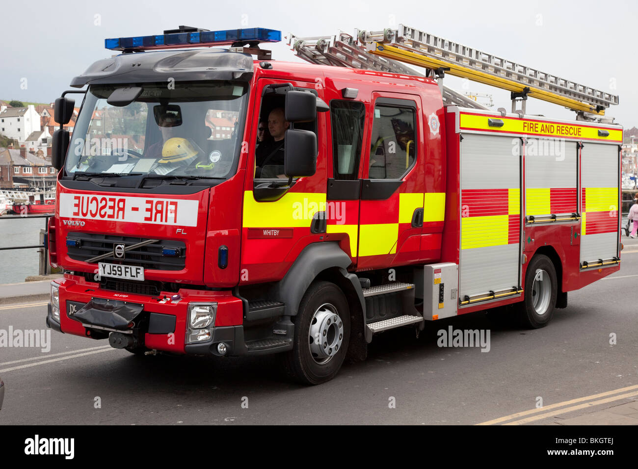 Whitby Fire & Rescue Engine, North Yorkshire, UK - Stock Image