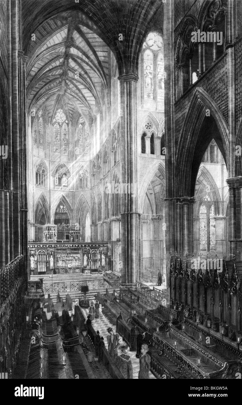 Vintage black and white etching print circa 1893 entitled 'The Choir at Westminster Abbey'. - Stock Image
