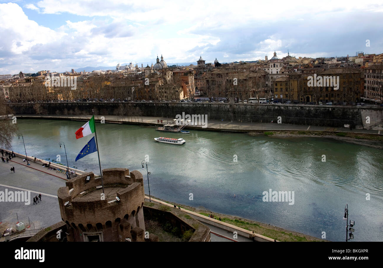 Tiber River seen from the terrace of the Mausoleum of Hadrian in Rome, March 9, 2008. Photo/Chico Sanchez Stock Photo