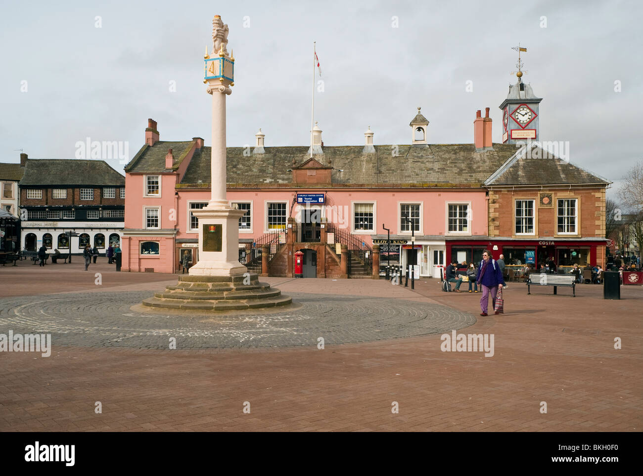 The centre of Carlisle, Cumbria, with the old Town Hall now the city's Tourist Information Centre - Stock Image