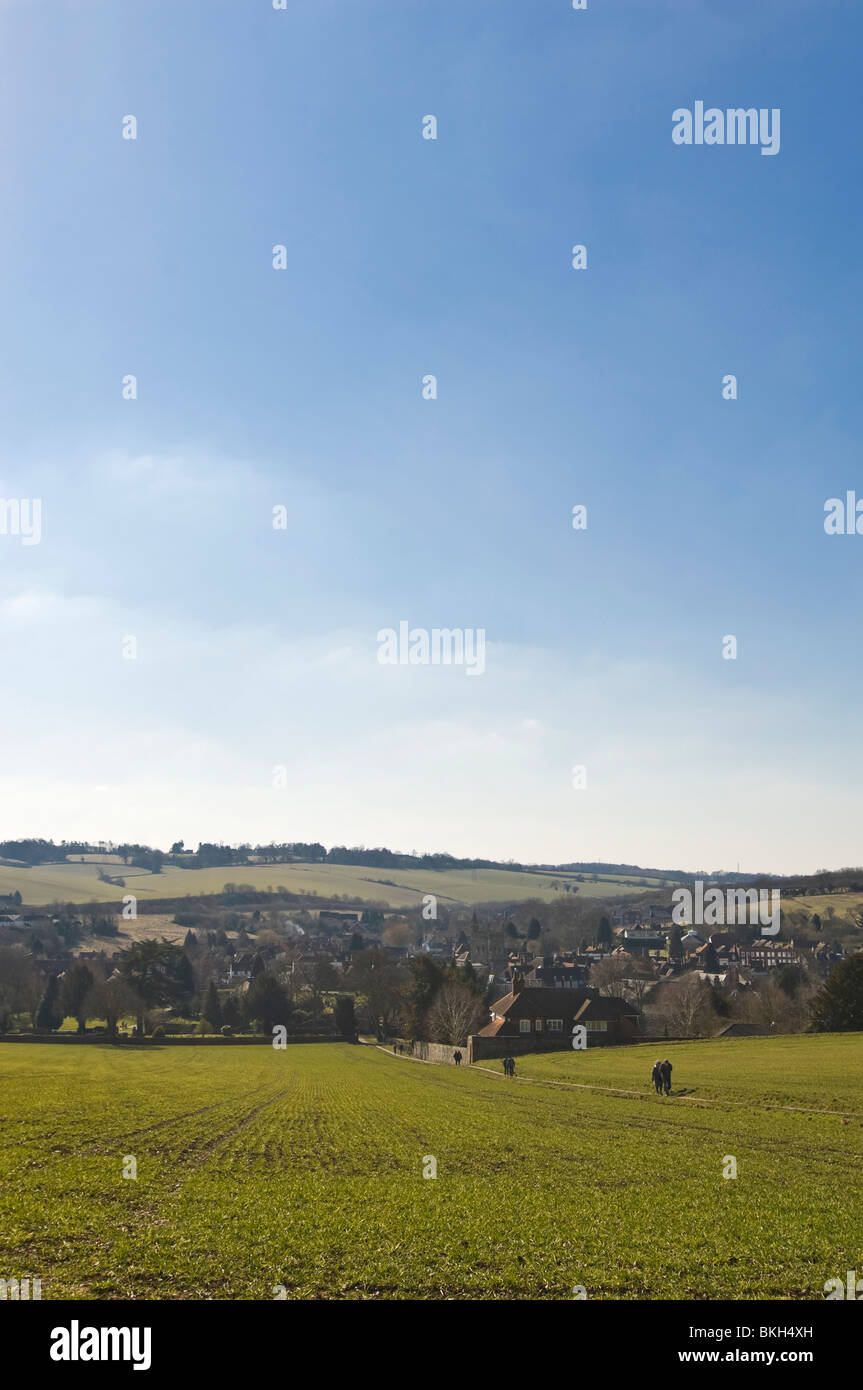 Vertical wide angle view across the Chiltern Hills of Old Amersham in Buckinghamshire on a sunny spring day. Stock Photo