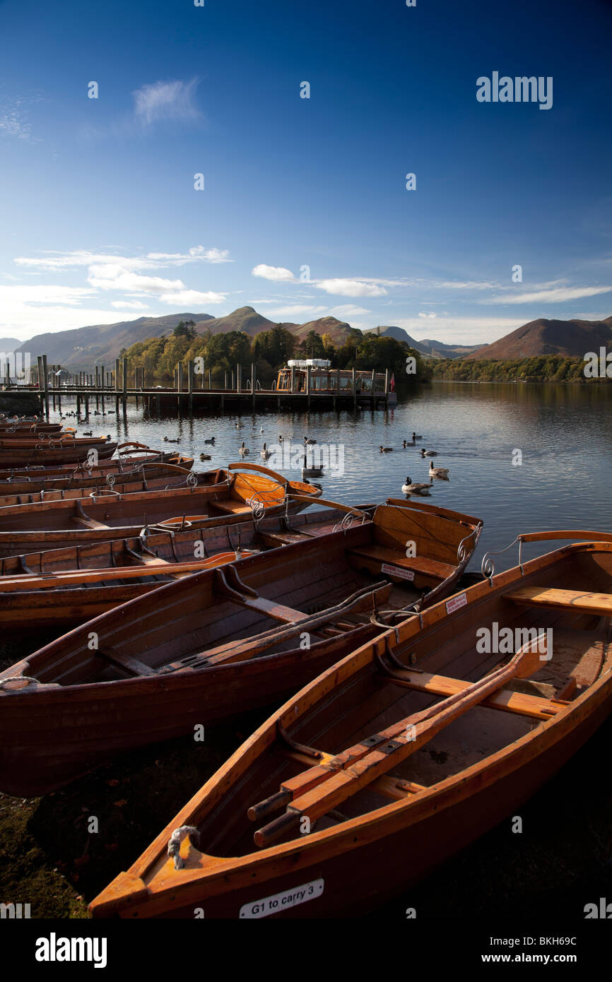 Rowing boats on Derwentwater with Catbells beyond, Lake District, Cumbria, UK - Stock Image