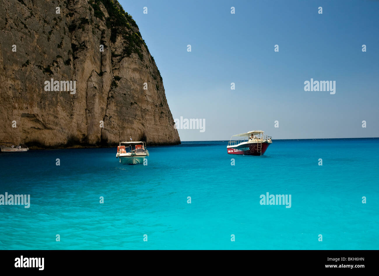 "The beautiful beach "" The wreck"" / Navagio in island of Zakynthos, ionian islands, Greece, turquoise waters of the Stock Photo"