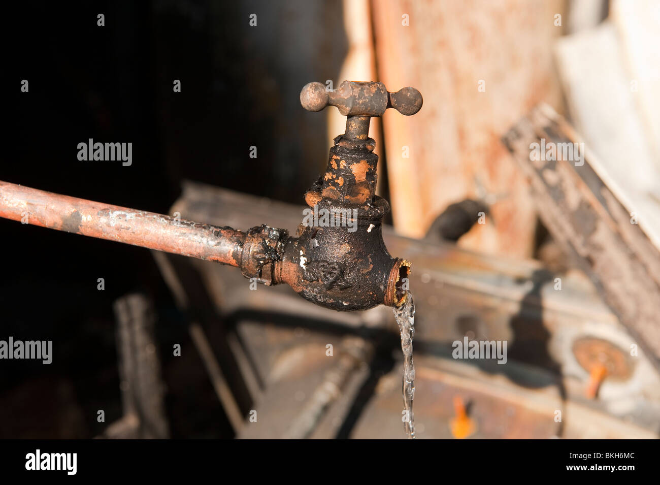 Water pipe stop tap leaking Stock Photo: 29267292 - Alamy