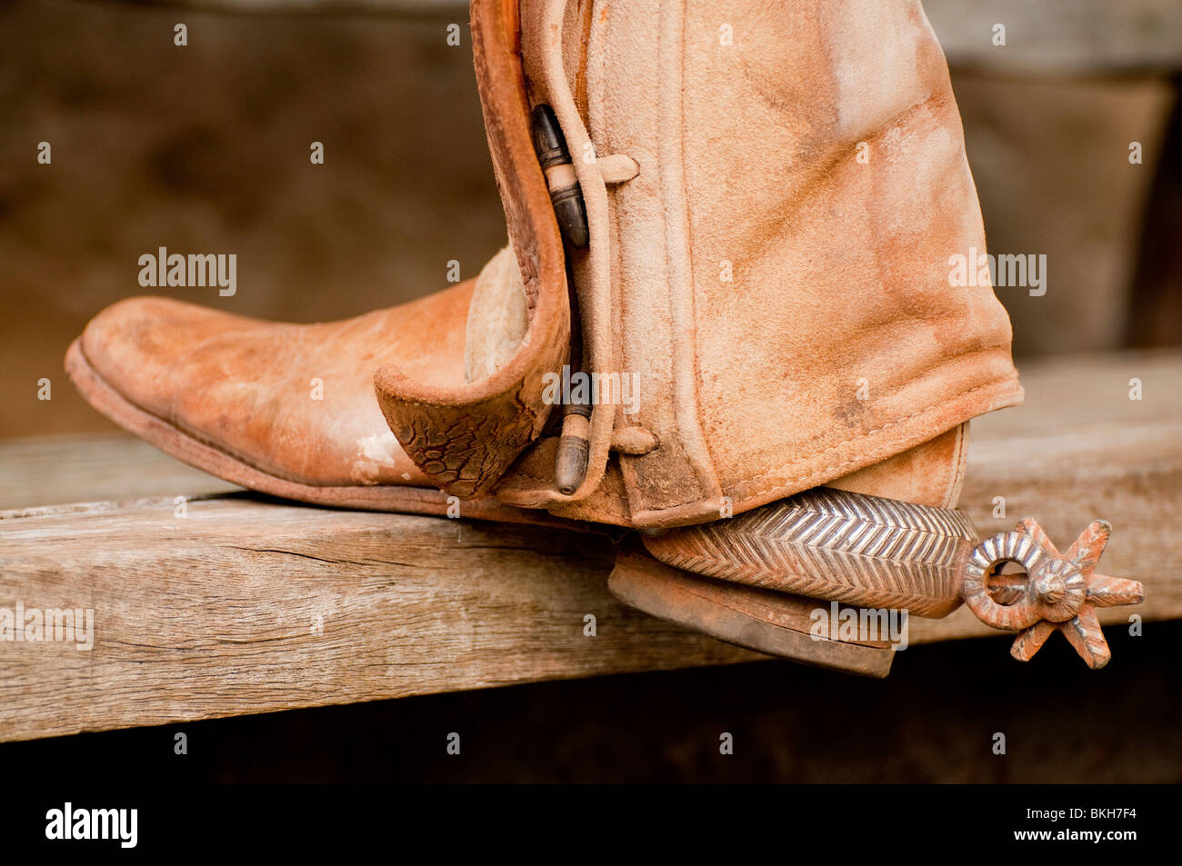 Guadalajara, Mexico, Charro ( Mexican Cowboy) wearing chaps, spurs and boots. Club Charro Lienzo, Jalisco - Stock Image
