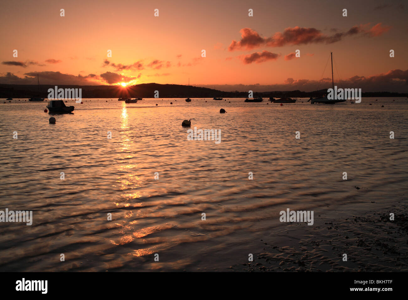 Exe estuary viewed from Shelly beach, Exmouth, Devon, England, UK - Stock Image