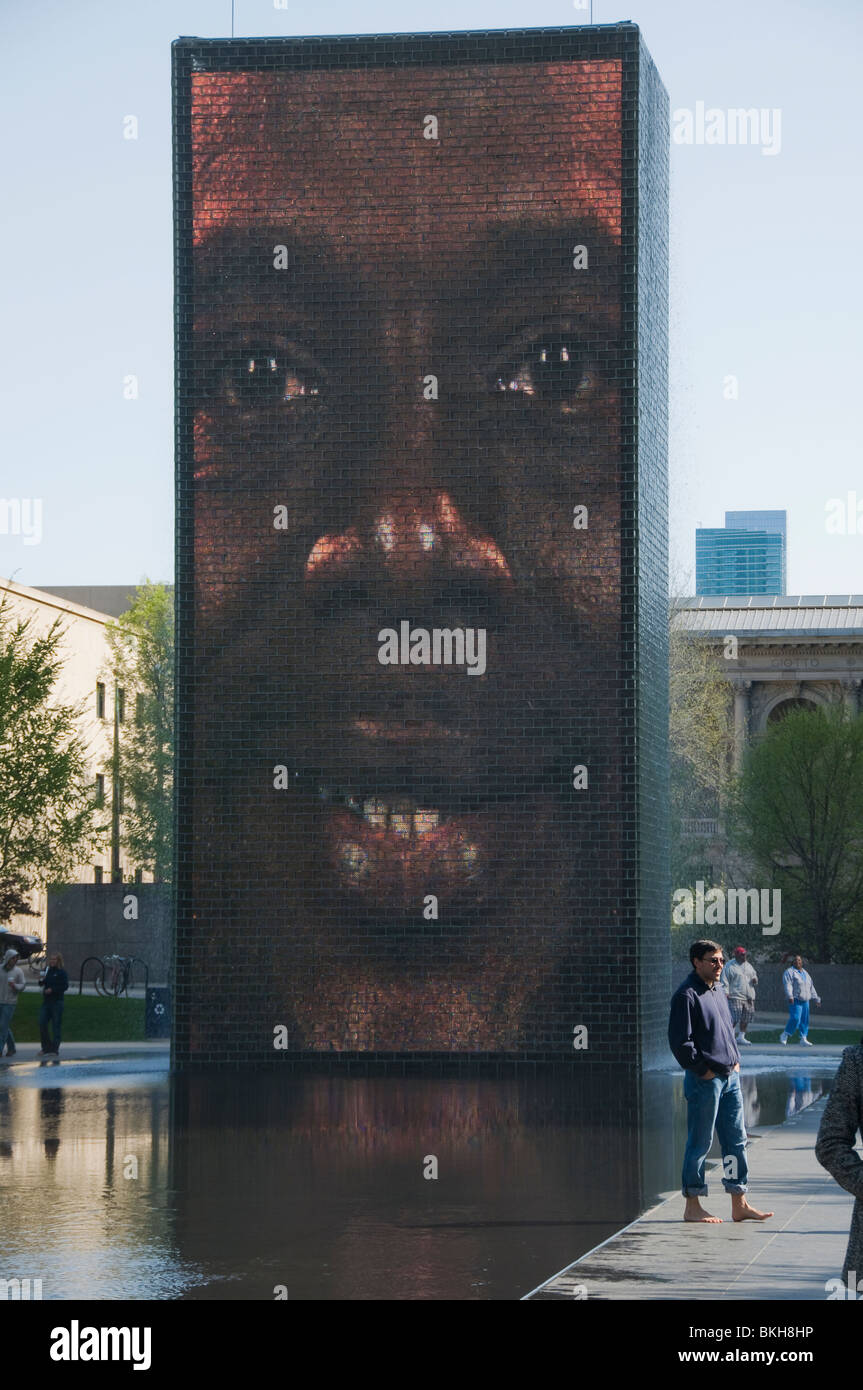 Crown Fountain by Jaume Plensa, Millennium Park, Chicago, USA - Stock Image