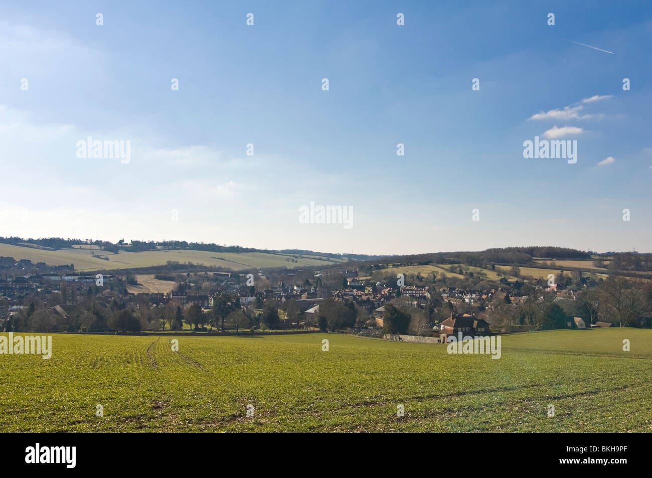 Horizontal wide angle view across the Chiltern Hills of Old Amersham in Buckinghamshire on a sunny spring day. Stock Photo