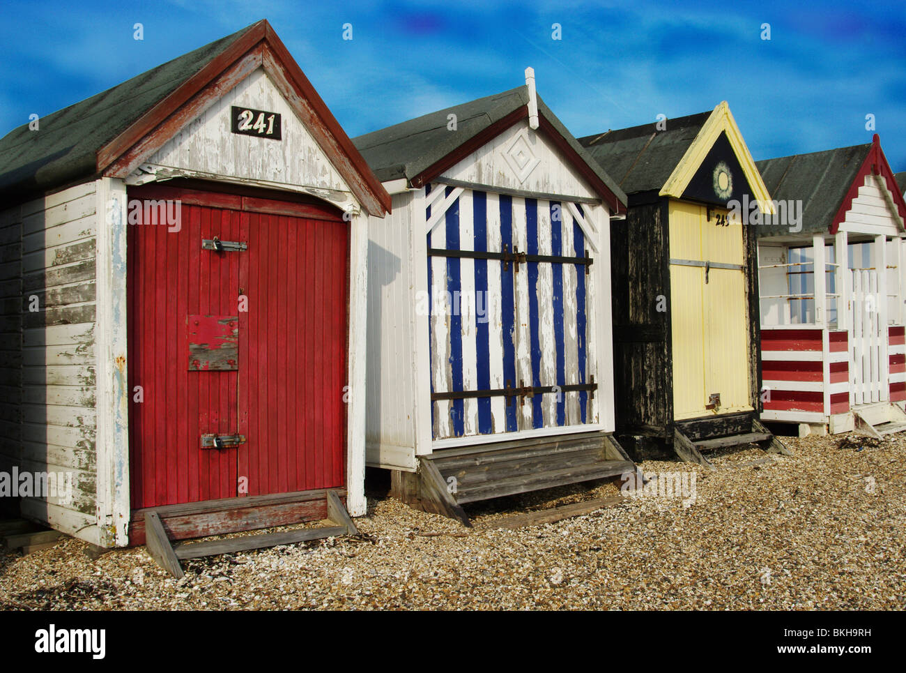 VIEW OF BEACH HUTS - Stock Image