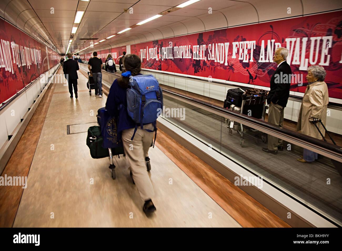 3f12bb3682baa Passenger pushing trolley with luggage through Gatwick airport London  England UK - Stock Image