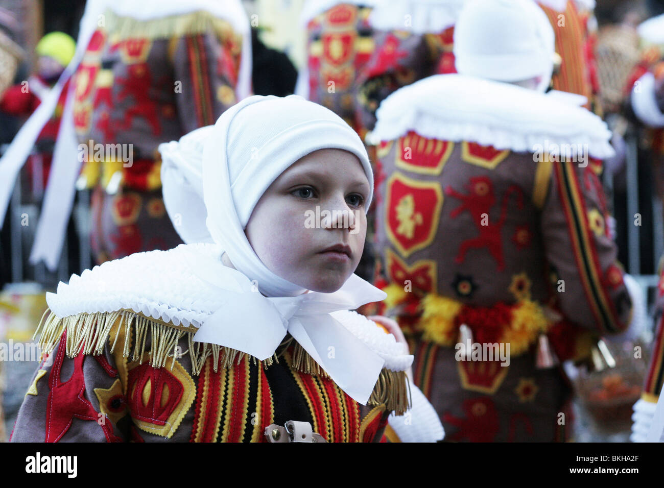Gilles of Binche Carnival.  Ancient and representative cultural event of Wallonia, Belgium - Stock Image