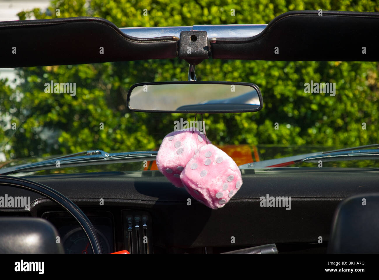 A Pair Of Pink Fuzzy Dice Hang From The Rearview Mirror Of