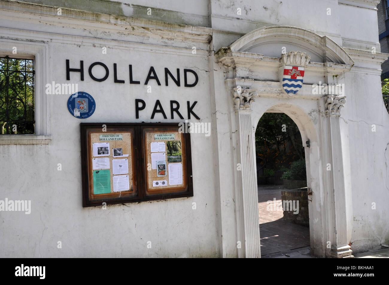 Entrance to London's Holland Park UK - Stock Image