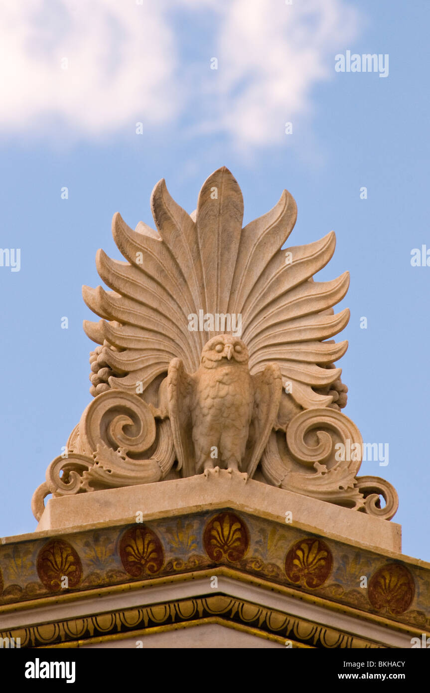 Antefix- palmette and owl - Stock Image