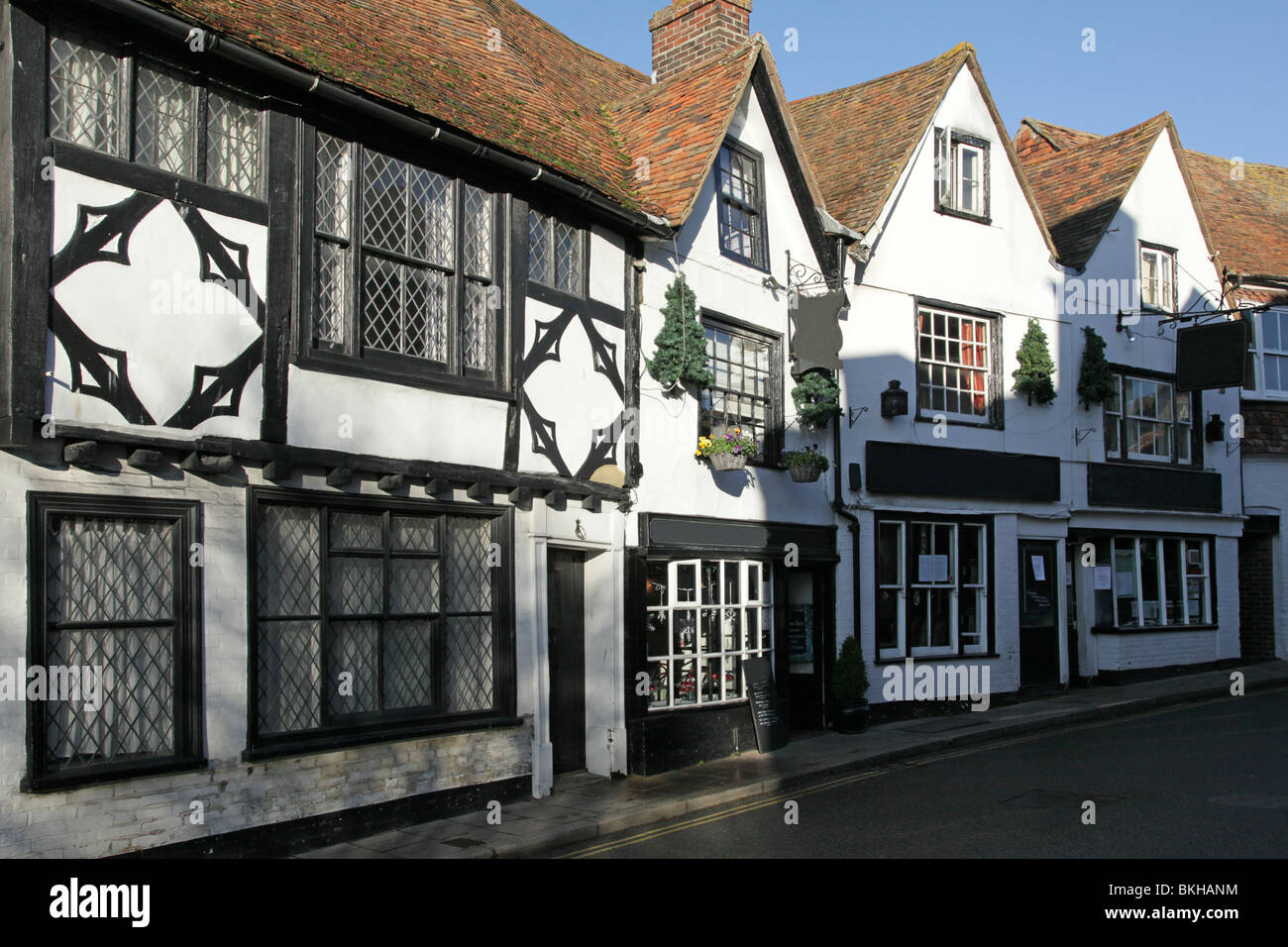 The wood timbered buildings that line the high street of Rye in East Sussex, England, UK - Stock Image