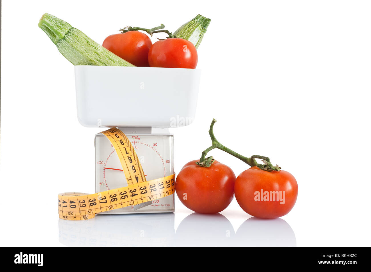 vegetables on kitchen scale with tape meter isolated on white background with clipping path - Stock Image