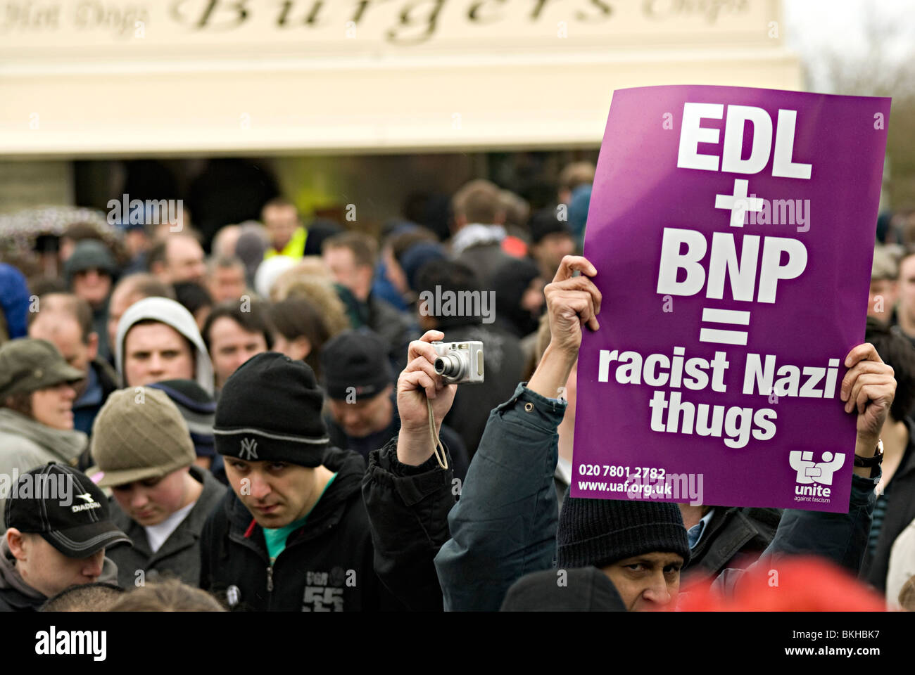 unite against fascism counter protest against the edl in dudley april 2010 - Stock Image