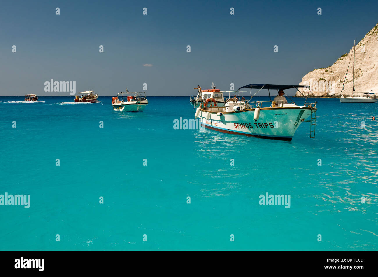 The beautiful beach ' The wreck' / Navagio in island of Zakynthos, ionian islands, Greece, boat trips - Stock Image