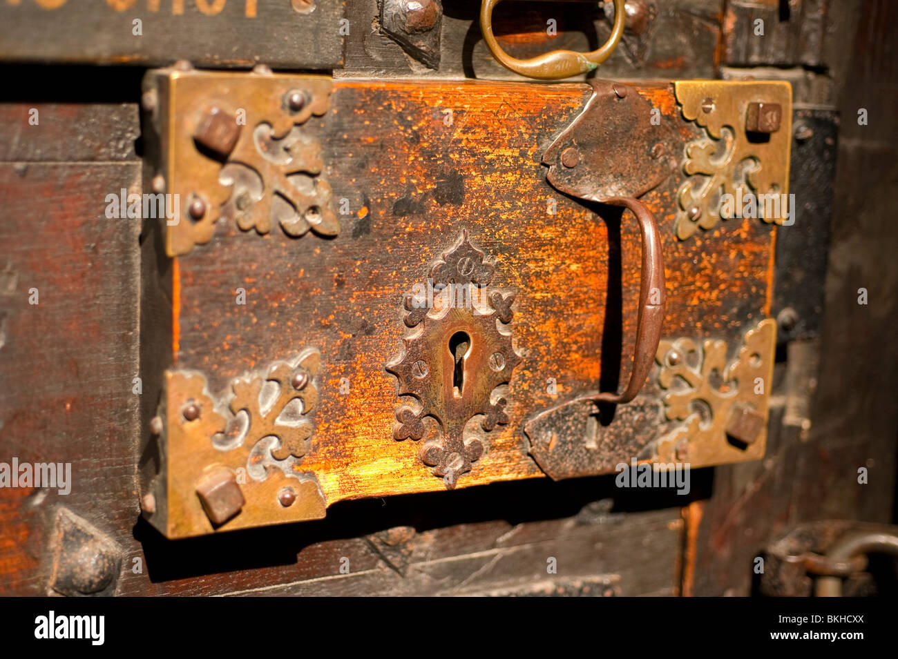 Charmant Old Cathedral Door Lock Escutcheon Plate Medieval   Stock Image