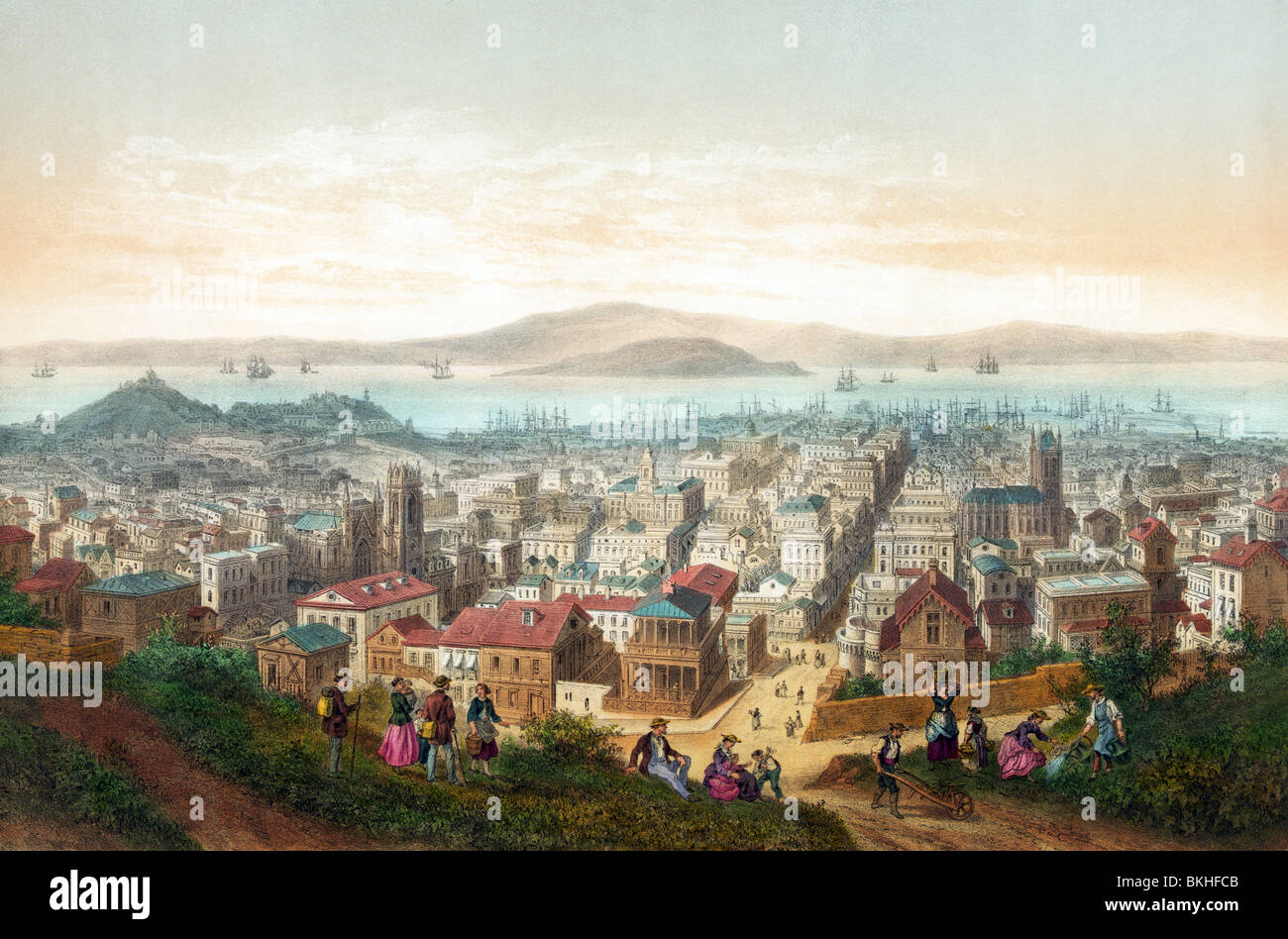 Vintage lithograph print circa 1860 of San Francisco in California, USA, as it appeared at the time. - Stock Image