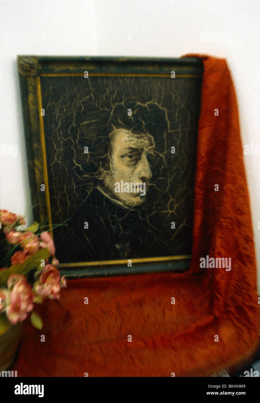 Majorca Balearic Islands Spain Valldemossa Portrait Of Chopin In Museo Celda Chopin - Stock Image