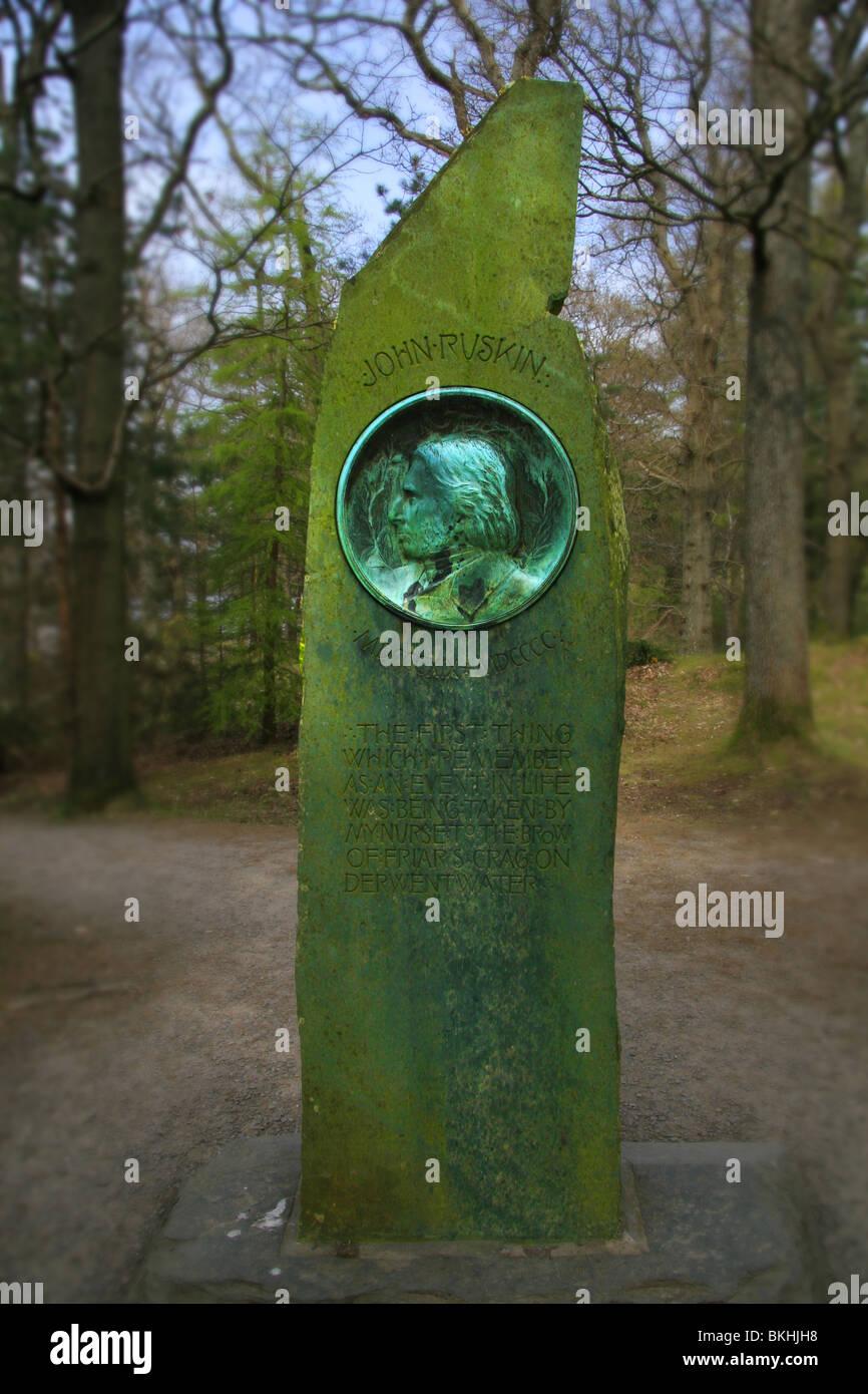John Ruskin Monument on Frier Crag  Derwent Water Stock Photo
