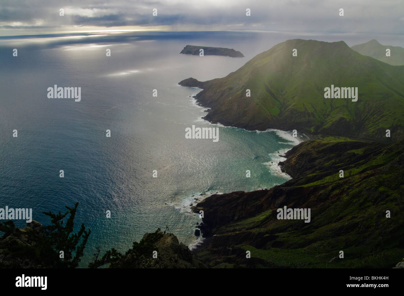 View southward from Pico Branco, on Porto Santo, the neighbouring island to Madeira - Stock Image