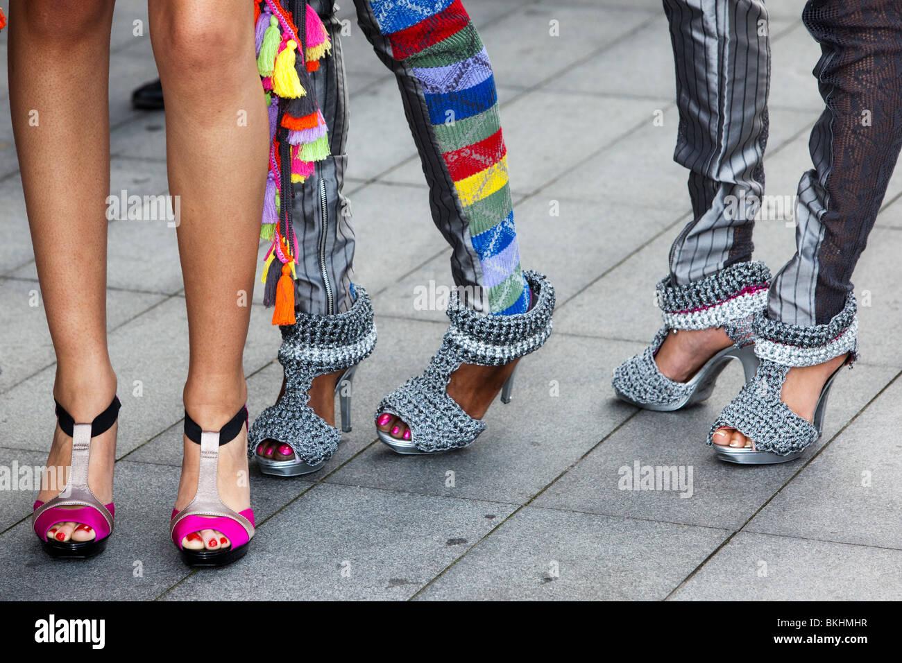 Legs of models, Alternative Fashion Week, London, Spitalfields Market - Stock Image
