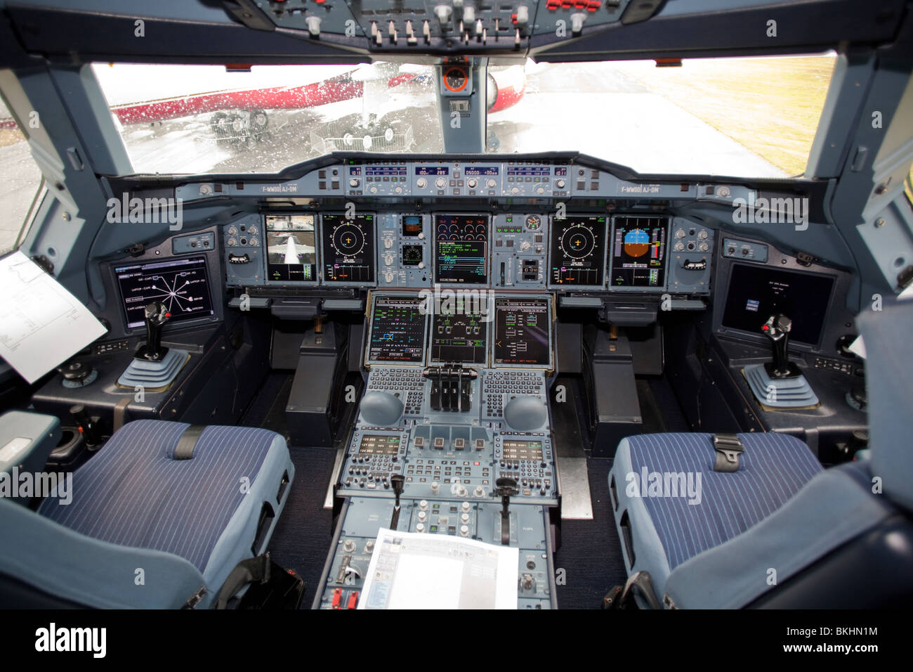 cockpit airbus a380 - Stock Image