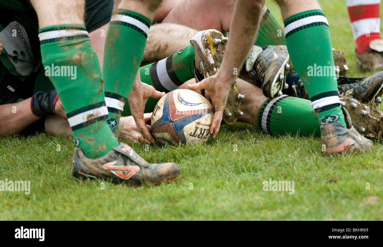 Club Rugby Union. Tenbury Wells v Claverdon in the Midlands 5 West (South West) league. - Stock Image