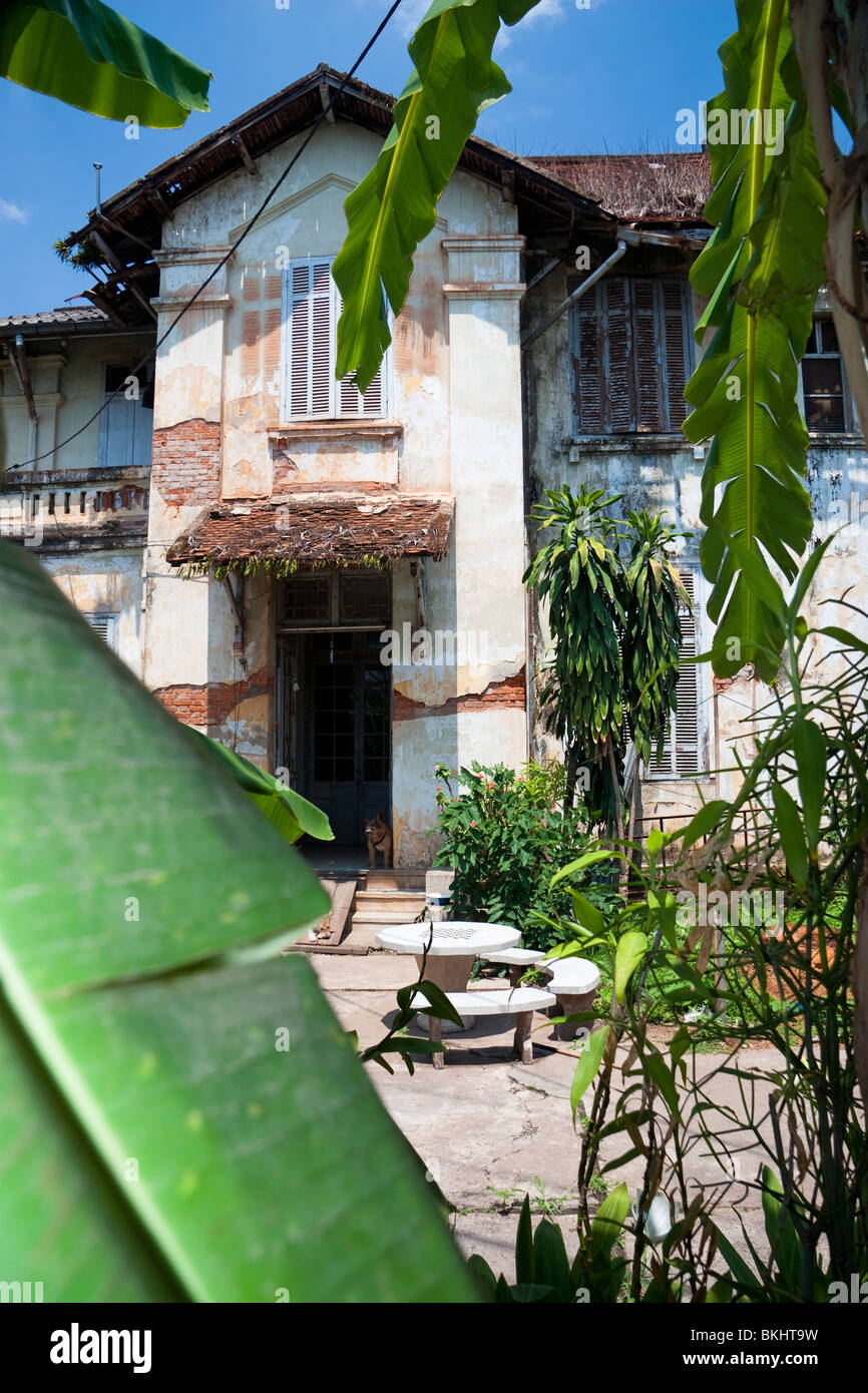 French Colonial Architecture With Banana Plants Vientiane Laos