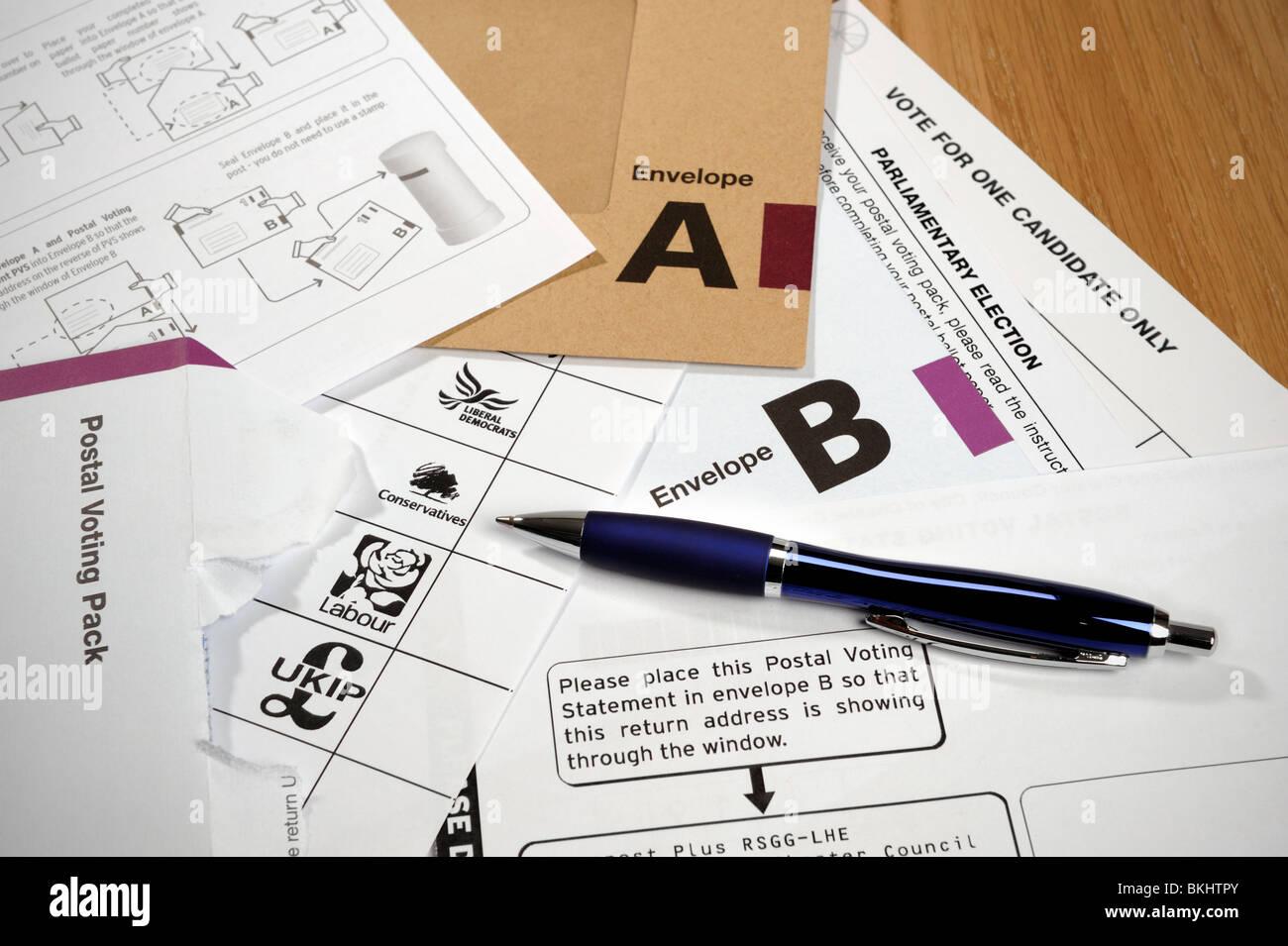 Postal vote papers Stock Photo