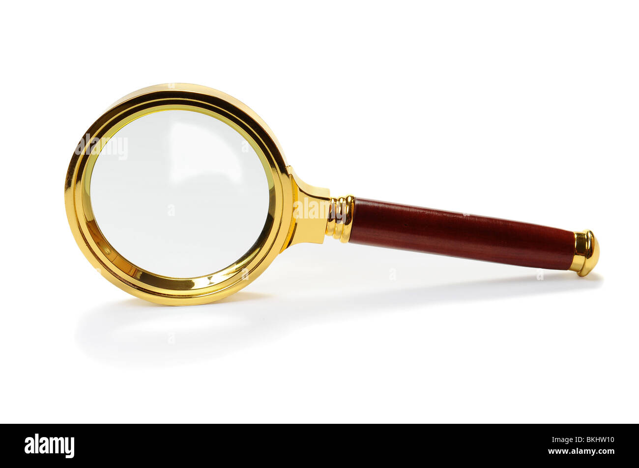 Magnifying Glass stand up on white background. Isolated image - Stock Image