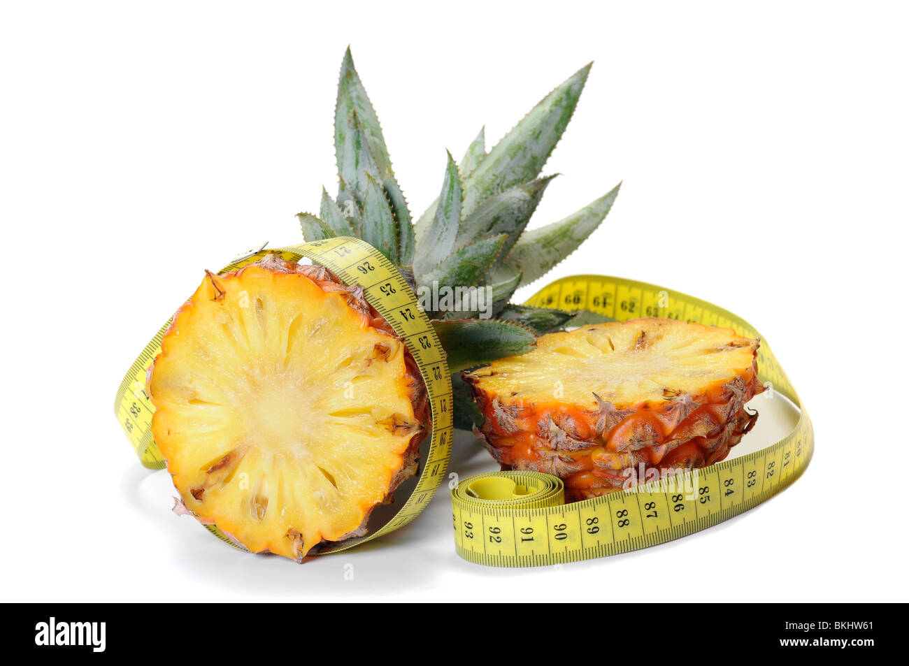 Ananas, pineapple measured the meter, health concept Stock Photo