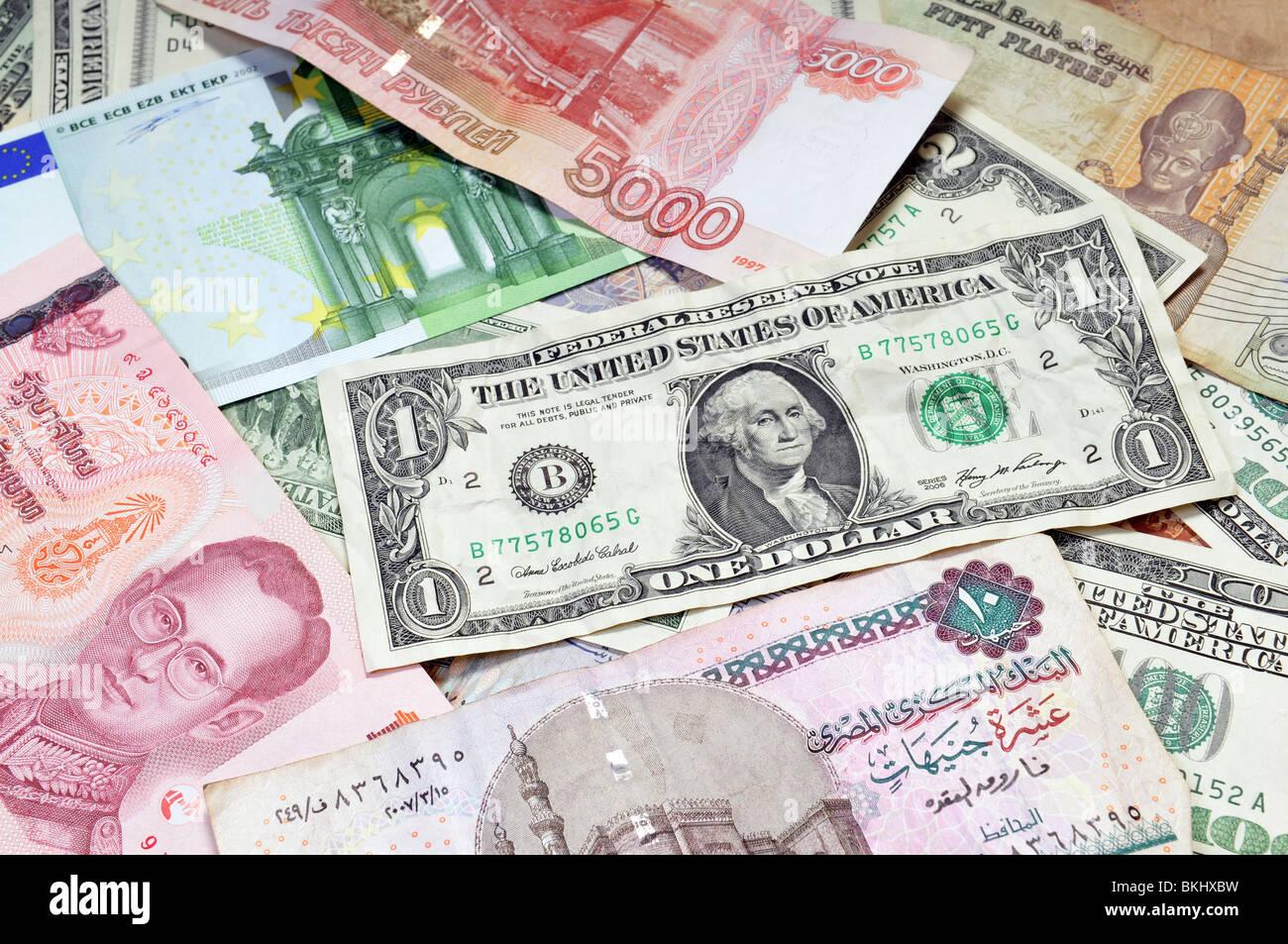 Money of the world - Dollars, euros, russian rubles, thai baht, turkish lira, egypt pounds - Stock Image
