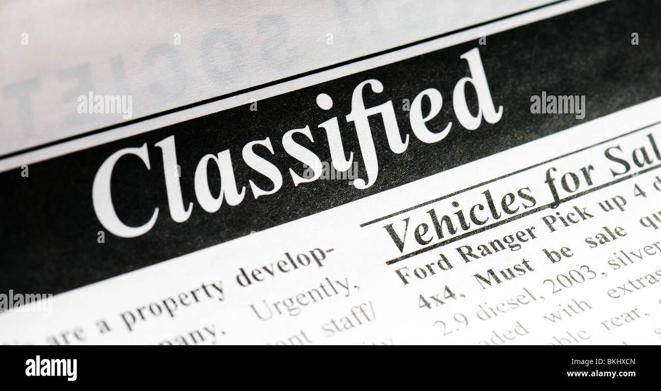 Classified ad in a newspaper. Macro view. - Stock Image