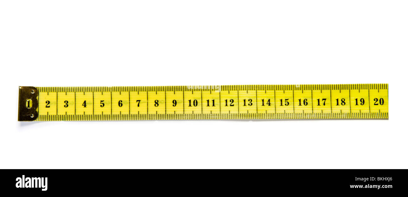 tailor tape measure ruler for design isolated on white - Stock Image