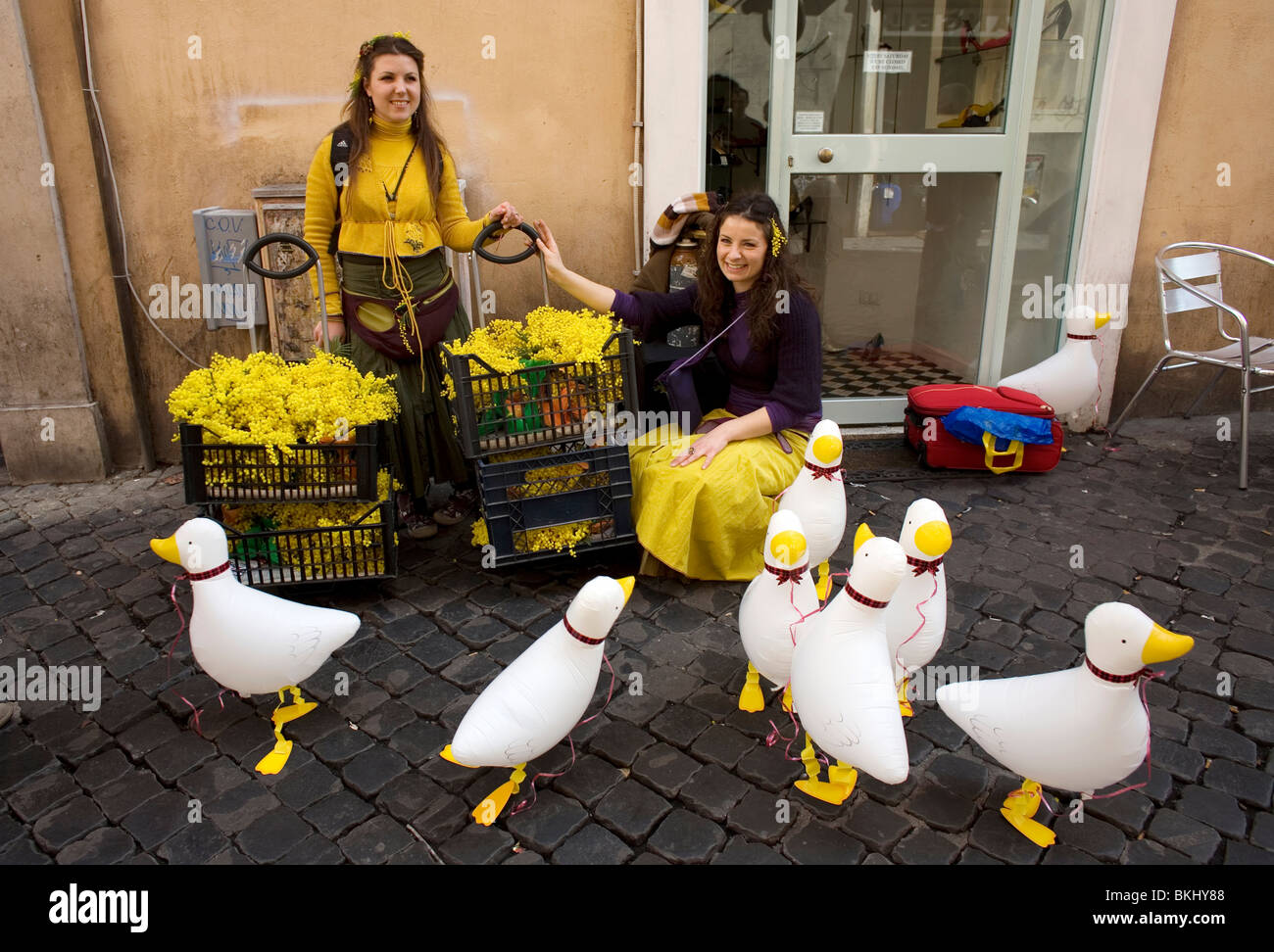 "Women sell plastic ducks on ""Woman's Day"" in Rome, March 8, 2008. Photo/Chico Sanchez Stock Photo"