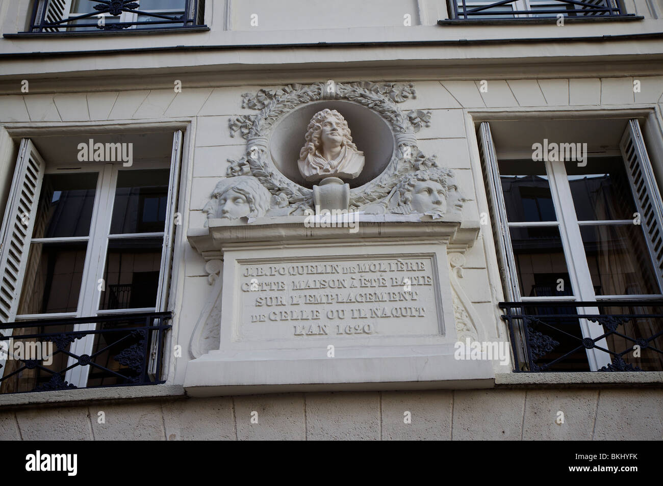 Plaque to commemorate the position of the house that Molière, playwright and actor, lived, Les Halles, Paris, - Stock Image