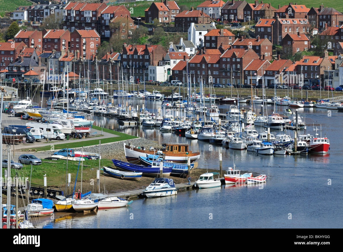 Ordered lines of moored boats in the River Esk at Whitby Stock Photo