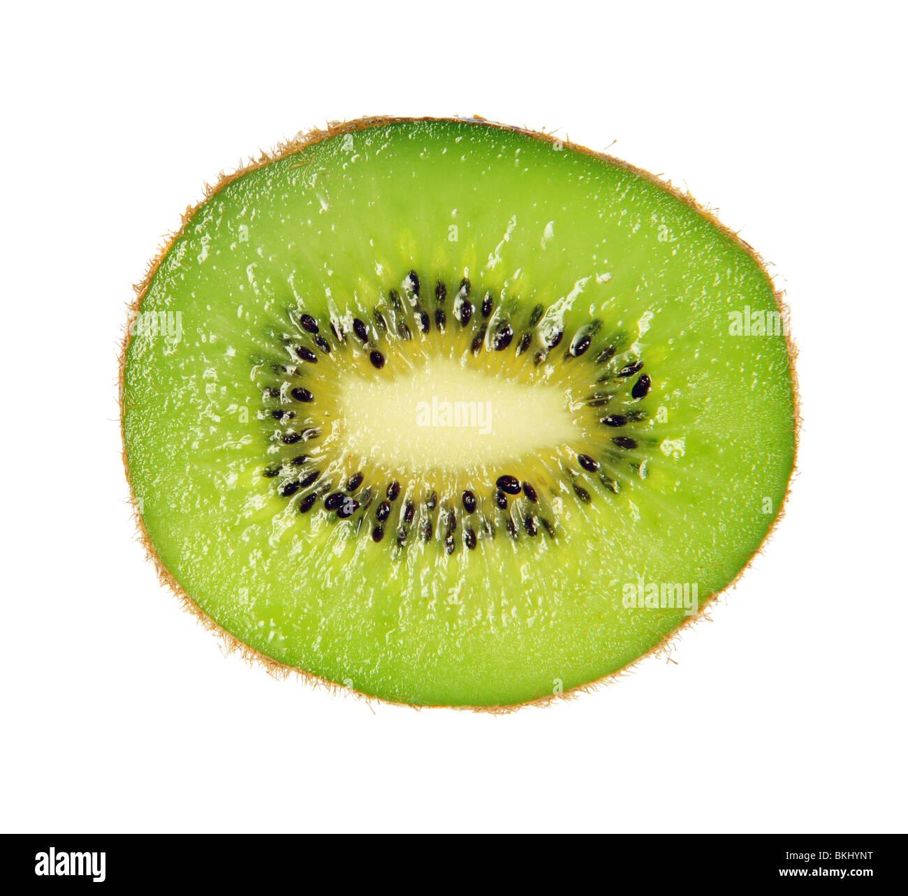 Kiwi fruit slice isolated on white background - Stock Image