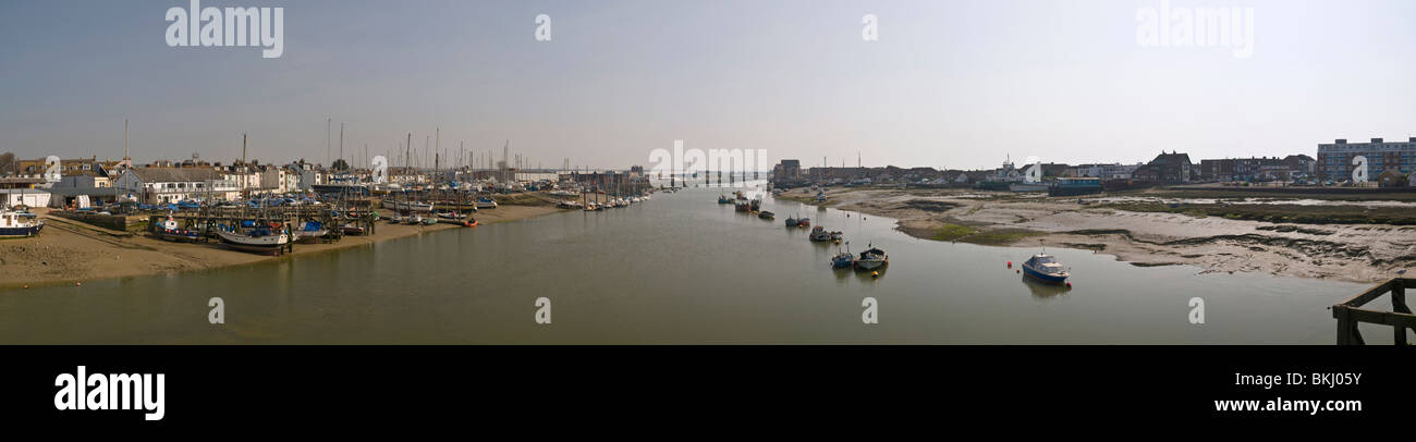 Panorama of the River Adur at Shoreham-by-Sea, West Sussex, UK from the footbridge Stock Photo
