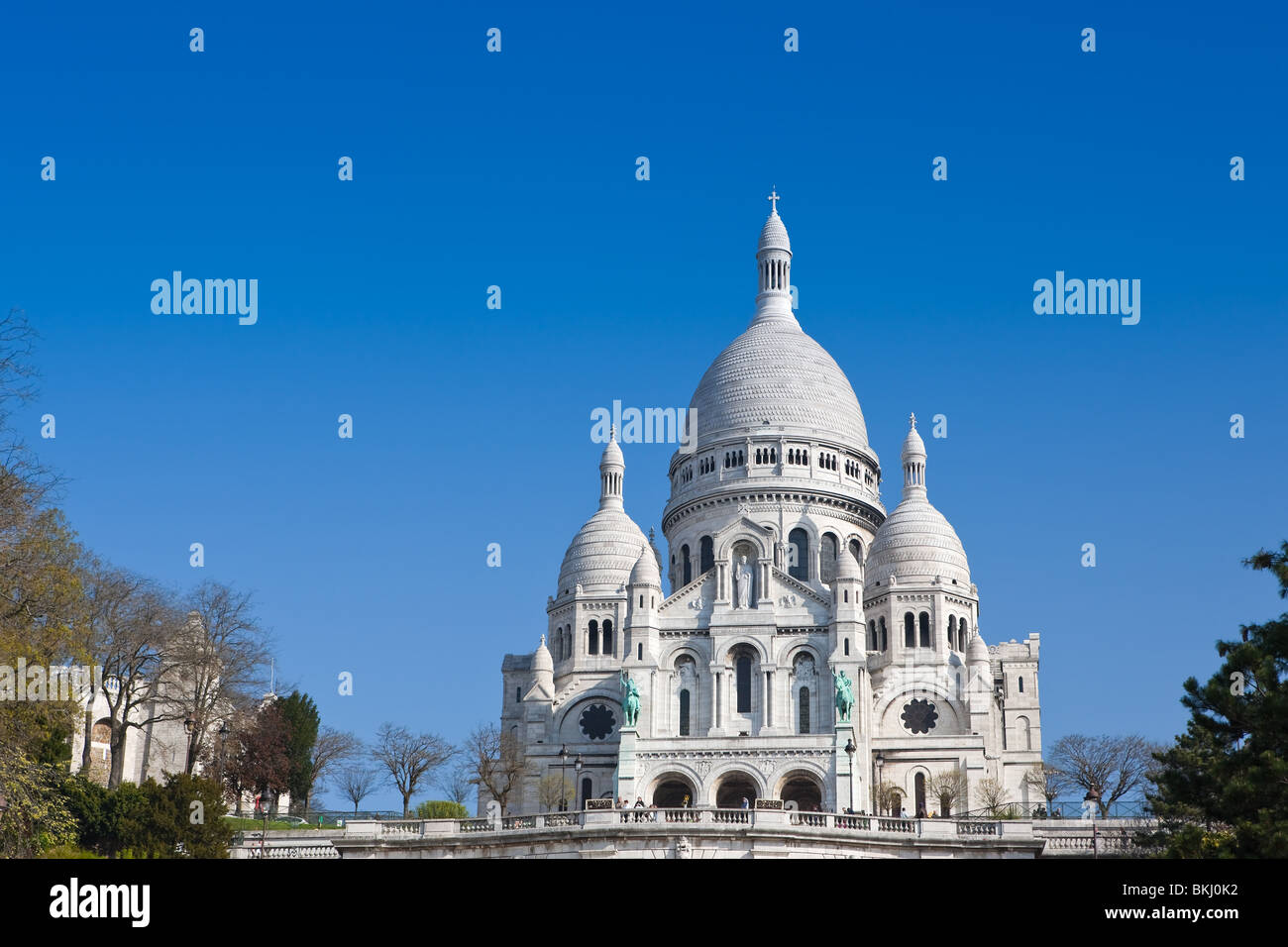The Basilica of the Sacred Heart of Jesus, commonly known as Sacre-Coeur Basilica, Montmartre, Paris - Stock Image