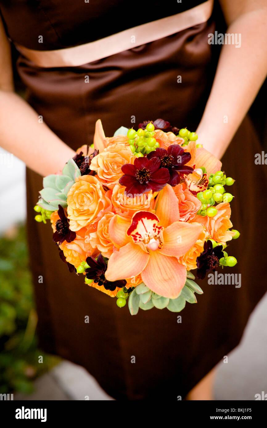 bouquet, orange auburn, red, fusia,brown, autumn, wedding colors ...