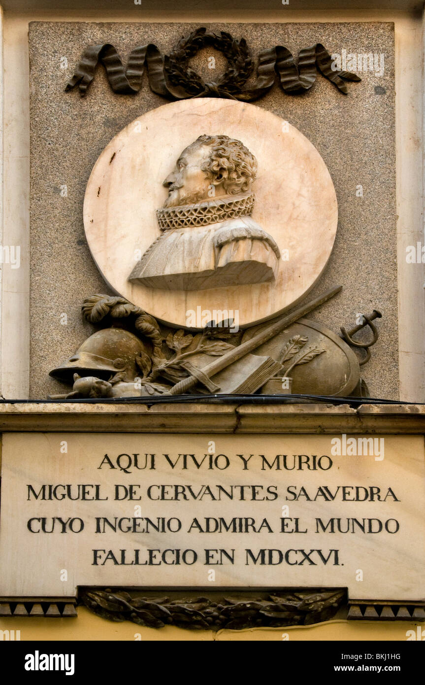 House of Michael de Cervantes in Calle de Cervante Madrid Spain  Don Quixote author writer - Stock Image