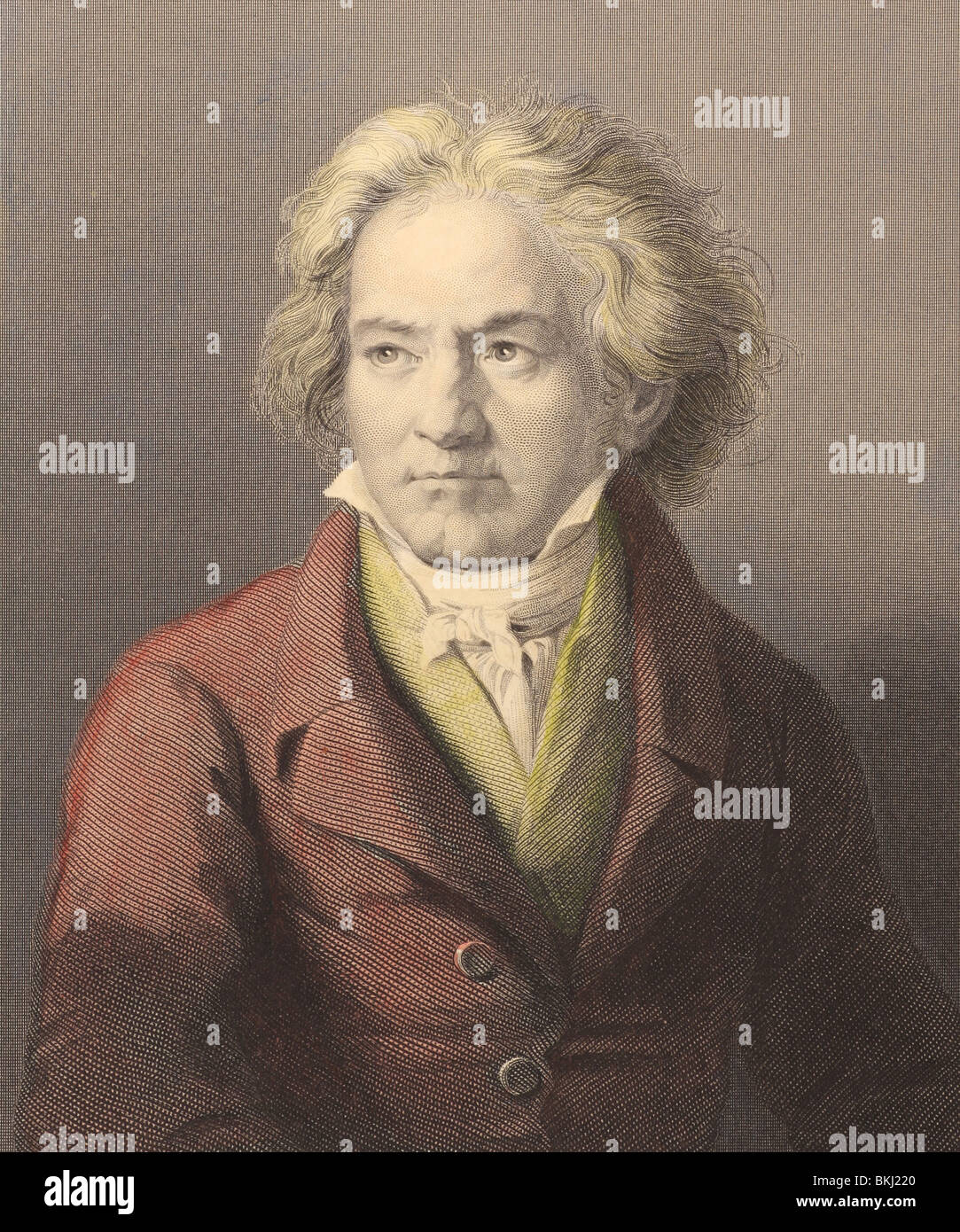 Ludwig van Beethoven (1770-1827) on engraving from the 1800s. German composer and pianist. - Stock Image