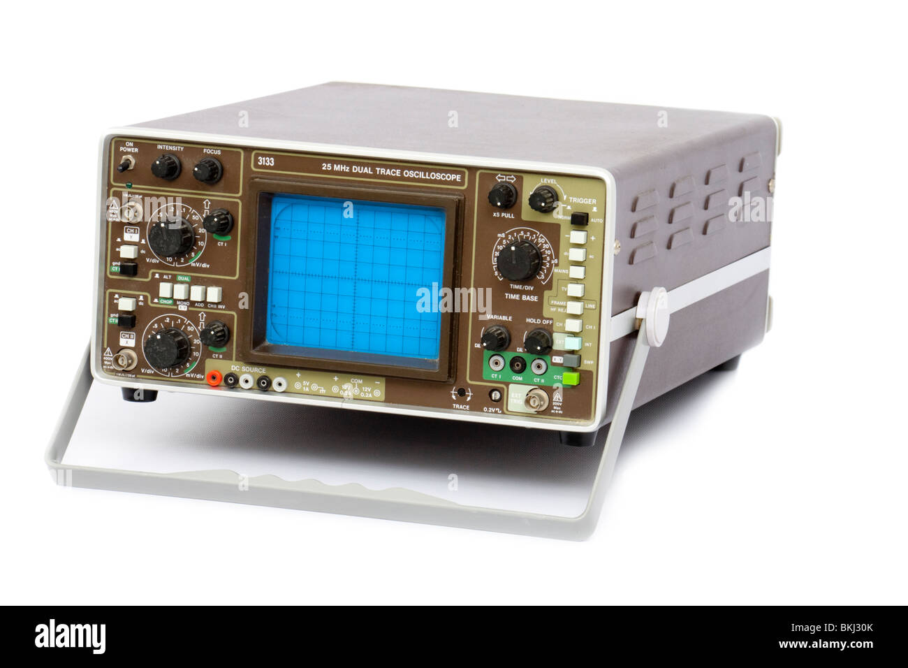 Vintage 25Mhz Dual Trace Oscilloscope electronic test equipment (model 3133), isolated on white background - Stock Image