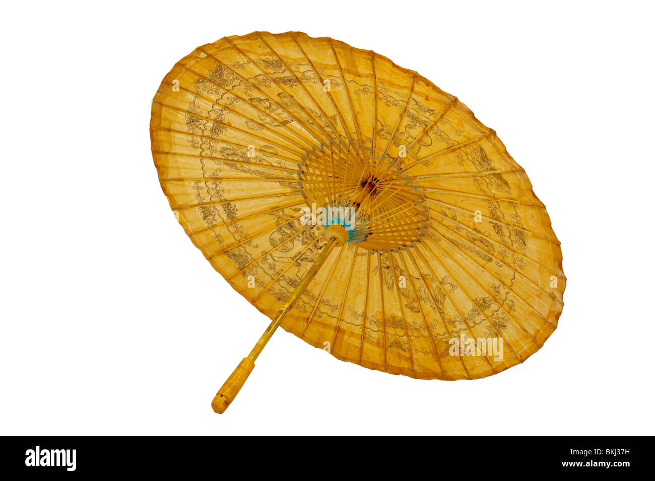 Antique Chinese paper parasol with oriental hand painted decorations, isolated against white background - Stock Image